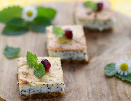 Cheesecake cu lamaie & mac – slices